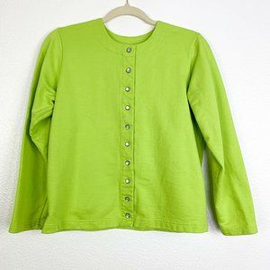 Hanna Andersson Girls Green Button Down Cardigan